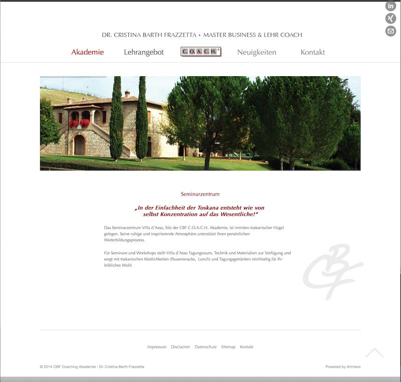 Screenshot: Webdesign für die CBF-Coach-Akademie