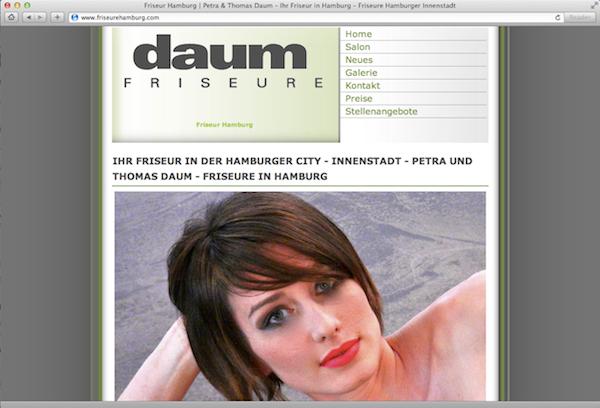 Friseure Daum Hamburg Webdesign der alten Homepage