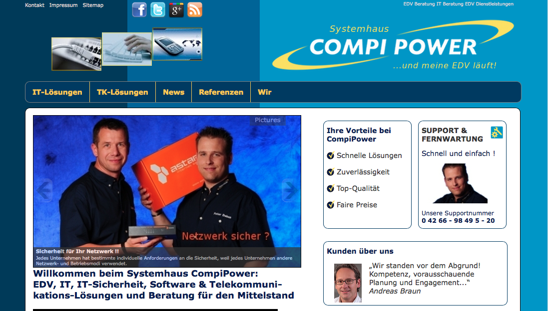 Webdesign für CompiPower Systemhaus – und meine EDV läuft