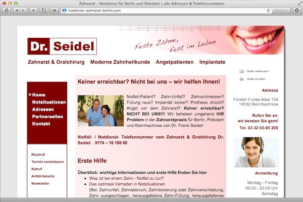 Beispielarbeit für Dr. Seidel zum Thema Notdienst Zahnarzt und Berlin