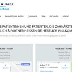 Startseite der Website der zahnärztlichen Allianz von Dr. Froelich & Partner